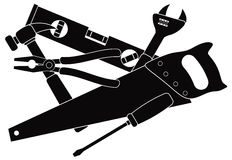Construction Tools Black and White Vector Illustration Stock Image