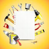 Construction tools with blank paper Royalty Free Stock Photos