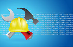 Construction tools and blue binary background Royalty Free Stock Photography