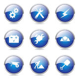 Construction Tools Blue Vector Button IconSet Royalty Free Stock Images