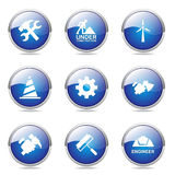 Construction Tools Blue Vector Icon Design Set 2 Royalty Free Stock Images