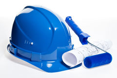 Construction tools and blueprint Royalty Free Stock Photo