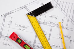 Construction tools on a blueprint Royalty Free Stock Photos