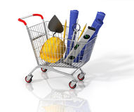 Construction tools and blueprint in the stopping cart on white b Royalty Free Stock Photos