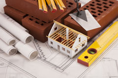 Construction tools on blueprints Royalty Free Stock Photo