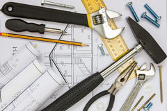 Construction tools and blueprints Stock Image