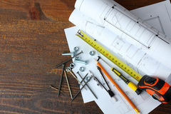 Construction tools and blueprints Royalty Free Stock Photo