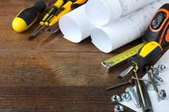 Construction tools and blueprints Royalty Free Stock Photos