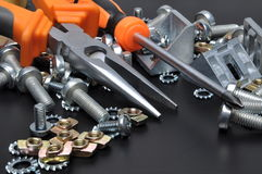 Construction tools and bolts Royalty Free Stock Images
