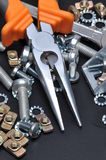 Construction tools and bolts Royalty Free Stock Photo