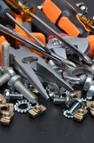 Construction tools and bolts Stock Image