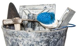 Construction  tools on bucket Royalty Free Stock Images