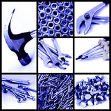 Construction tools collage. Collage of photos about construction tools - hammer, pincer, screwdrivers, nails, screws - in blue tone Stock Images