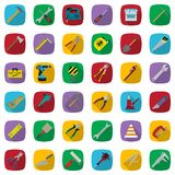 Construction tools color icons set. Vector industrial signs collection. Construction tools color icons set. Vector industrial thirty six signs collection Stock Images