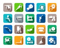 Construction tools, consumables, icons, colored, flat. Stock Photography
