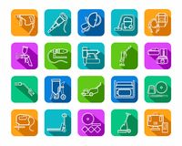 Construction tools, consumables, icons, contour, colored. Royalty Free Stock Photos