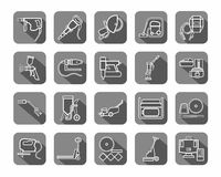 Construction tools, consumables, icons, contour, gray. Royalty Free Stock Photos