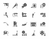 Construction tools and consumables, monochrome icons. Royalty Free Stock Images