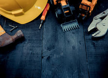 Labor day concept. Construction tools with copy space for Labor day Stock Images