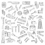 Construction tools and equipment objects Royalty Free Stock Image