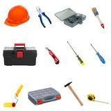 Construction tools and equipment on a white background. Royalty Free Stock Photography