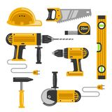 Construction tools flat icons Royalty Free Stock Image