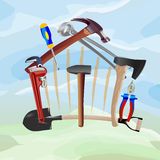 Construction tools. In the form of house. Vector illustration Stock Photography
