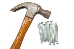 Construction tools, Hammer head and concrete nails Royalty Free Stock Images