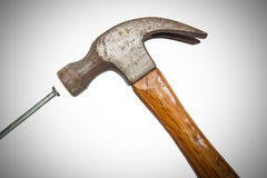 Construction tools, Hammer head and concrete nails Royalty Free Stock Image