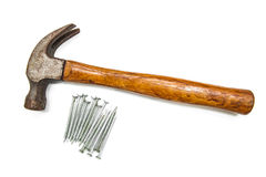 Construction tools, Hammer head and concrete nails Stock Photo