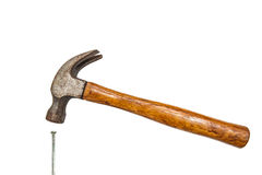 Construction tools, Hammer head and concrete nails Stock Images