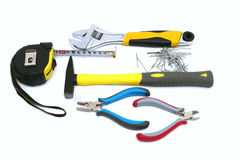 Construction tools - hammer, nail, pliers,tape measure Stock Image