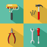 Construction tools icons. Vector icons set of construction tools: hammer and nails, screwdriver, wrench, pliers, paintbrush or paint roller. Vector flat style Stock Photo