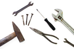 Construction tools isolated over white Stock Photos
