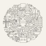 Construction Tools Line Icons Set Circle Shape Royalty Free Stock Image
