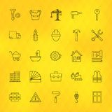 Construction Tools Line Icons Set over Polygonal Background Royalty Free Stock Image