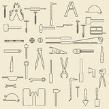Construction tools linear icons  illustration Royalty Free Stock Images