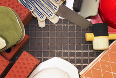 Construction tools and materials posted in a frame. Stock Images