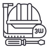 Construction Tools,meter, Hard Hat, Hammer, Screwdriver Vector Line Icon, Sign, Illustration On Background, Editable Royalty Free Stock Photography