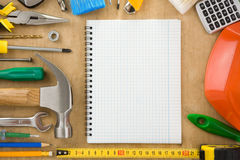 Construction tools and notebook Royalty Free Stock Photo