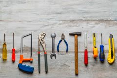 Free Construction Tools On Rustic Wooden Stock Photo - 140476170