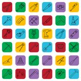 Construction tools outline icons set on a color square. Vector industrial signs collection. Construction tools outline icons set on a color square. Vector Stock Photography