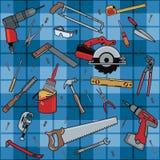 Construction Tools Plaid Stock Photo
