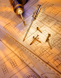 Construction - Tools - Plans. A few tools on a set of building construction plans royalty free stock photography