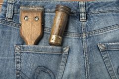 Construction tools in pocket jeans.Top view. Royalty Free Stock Image