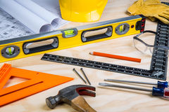 Construction tools randomly placed Stock Images