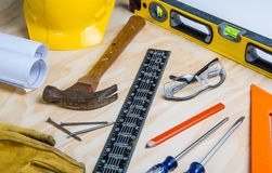 Construction tools randomly placed Royalty Free Stock Photography