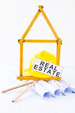 Construction tools and real estate concept Stock Photos
