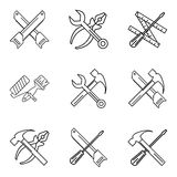 Construction tools. Repair linear icons. Vector set. Minimalistic modern design Royalty Free Stock Image