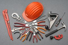Tools construction and safety helmet royalty free stock photos